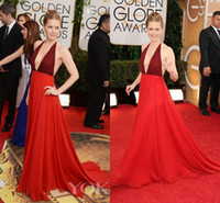 Cheap 2014 Celebrity Dresses 71st Annual Golden Globe Awards Red Carpet Backless Evening Gowns Amy Adams Valentino Deep V Neck Prom Dresses