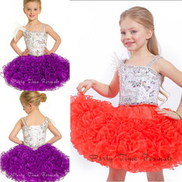 Wholesale 2014 Little Girl s Pageant Dresses Crystal Beads And Feather Ball Gown Straps Sleeveless Lace Up Back Short Organza Gowns For Girls