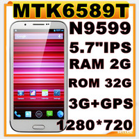 "Cheap mtk6589t quad core 2gb ram 32rg rom original mobile phone note3 n9000 N9599 5.7""IPS gorilla screen 1280*720 3g gps pk jiayu g5 Russian"
