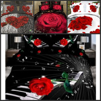 beds - New D Beautiful Red Rose Floral Bedding sets Duvet Quilt Cover Bed sheet set bed in a bag Bedlinen Bed Clothes