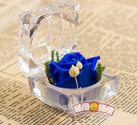 Wholesale Novelty special Ring box preserved flowers beautiful rose