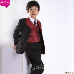 Wholesale Custom made boys tuxedos black and red boys suit wedding boys dress Jacket Pants tie vest gallus