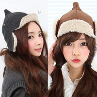 Wholesale Institute of Wind Cute Pointy Lamb Wool Hat Autumn and Winter Women Fashion Warm EarFlaps Caps New Design Bomber Hats
