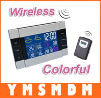 Wholesale dropshipping CH113 RF Wireless Weather Station Alarm Clock Indoor Outdoor Thermometer with Color Backlight