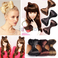 african american ponytail hairpieces - 5pcs Hot Korean Hair Comb Bow Clip Extensions Hairpiece Synthetic Hair Ponytail Holder HPX042 HPX043 M