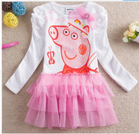 Summer peppa pig - New Summer girls tutu dress Peppa pig clothes Children Girls Cotton lace long sleeve tutu princess dress top quality