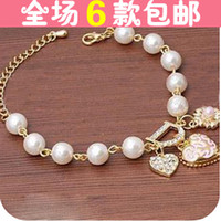 Pendant Necklaces Alloy / Silver / Gold Main map section free shippingLady style diamond peach heart flower pendant pearl bracelet letter D