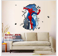 Wholesale Spiderman Break Wall Sticker Kids Living Room D Wall Paper Children s Room Wall Decor cm NEW STYLE