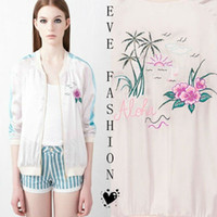 Wholesale Flower Embroidery Baseball Jacket Outwear Top