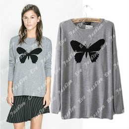 Wholesale Women s New Arrival Butterfly Intarsia Grey Kint Top Jumper Sweater