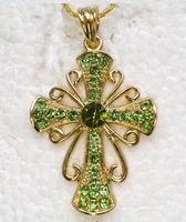 al por mayor colgantes de plata cruz de diamantes de imitación al por mayor-Cadenas cristalinas Amethyst al por mayor de los colgantes de los collares de la cruz del Rhinestone de F167 D
