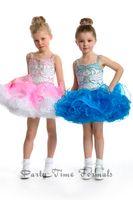 short pageant dresses for girls - 2014 Lovely Flower Girls Dresses Heavily Beaded Ball Gown Spaghetti Straps Key Hole Back Organza Short Pageant Dresses For Girls