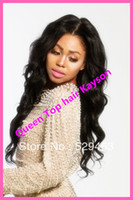 Wholesale 2013 New Brazilian virgin human hair Body wavy Glueless FULL LACE WIGs Front Lace WIGS for black women in stock