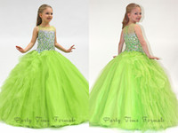 Model Pictures Toddler Beads 2014 Lovely Princess Girls Pageant Dresses Sheer Crew Neck Sleeveless Ball Gown Rhinestones Beaded Long Tulle Little Flower Girls Dresses