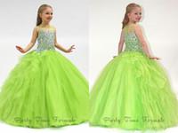 2014 Прекрасная принцесса Девушки Pageant платья Sheer Crew Neck рукавов бальное платье стразами бисером Long Тюль маленький цветок Девушки платья
