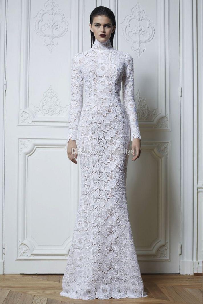 Full lace long sleeves wedding dress high neck wedding for Full sleeve lace wedding dress