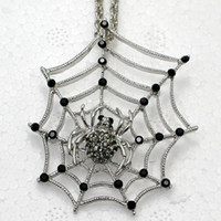 Unisex halloween cobweb - F116 H Black Crystal Rhinestone Spider web Cobweb Pendant necklaces chain