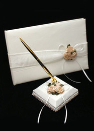 Wholesale Charming White Floral Cloth Cover Guest Book and Pens wedding favors r43 u5 hC