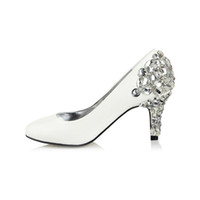 Cheap Simple White Crystal Rhinestone Celebrity Wedding Shoes Beading Sparkly Bridal shoes High Heel Prom Shoes