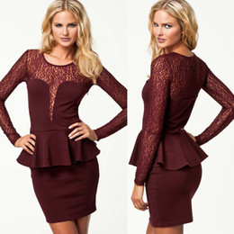 Free Shipping Hot Women's Clubwear Sexy Lace Patchwork Cocktail Party Long Sleeve Peplum Full Dress Lady's Casual Dress Black Dark Red