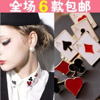 Wholesale New jewelry cute and funny little suit modern poker brooch Collar single price
