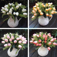 Wholesale 1 Bouquet Heads Artificial Tulip Silk Flowers Leaf Home Garden Wedding Decor