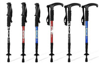 Cheap Promiton Adjustable Trekking Hiking pole 4 hiking pole with curved handle walking stick outdoor stretchy 110cm shorten 50cm
