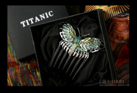 Wholesale Luxury Version TITANIC Rose s Beautiful Butterfly Hairpin Cosplay Comb Hair Clip