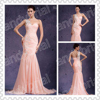 2014 Graceful One- Shoulder Prom Dresses Applique Floor- Lengt...
