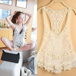 Wholesale Sexy Beach Embroidery Beige Vintage Retro Sweet Cute Casual Crochet Floral Hollow Lace Vest Slim Bohemia Tank Top Tee Blouse For Women