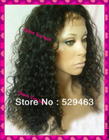 Wholesale Glueless Full Lace Cap Curly Indian Human Hair Baby Hair B Off Black glueless wigs