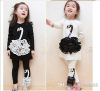 Girl Spring / Autumn Long Wholesale - New 2014 Kids t-shirt cotton children boys girls clothes, swan autumn spring long sleeve baby shirt + pants free shipping