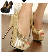 Wholesale 2014 New Spring Glitter Waterproof Platform High Heels Elegant Stiletto Heels cm Shinning Gold Sequined Heels ePacket