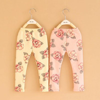 Leggings & Tights Girl Spring / Autumn New Korean kids leggings & tight baby girl Pastoral style flower print cotton leggings trousers pants pink yellow