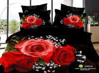 Wholesale 3D Red and black rose comforter bedding set queen floral wedding comforters sets duvet cover bed sheet bedspread oil painting