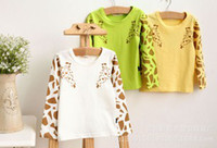 Wholesale 2014 Korean Children Girls Boys Animal Zoo Giraffe Printed Long Sleeve Candy Color Basic Tee Shirts Tops Wear White Green Yellow Shirt B2618
