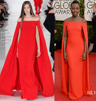 Wholesale 2014 The st Golden Globe Awards Lupita Nyong o Red Carpet Dress Celebrity Dresses With Cloak Off Shoulder Draped Sweep Train Sku