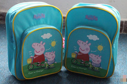 Wholesale EMS Lovely Children Boys Girls Teen Peppa Pig Double Shoulder Backpacks Kids Girl Pigs School Bag Cartoon Peppa Backpack Blue Pink D1748