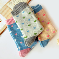 Wholesale Winter thermal thickening rabbit wool socks loop pile socks roll up hem cotton socks