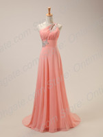 Wholesale In Stock Cheap New Evening Dresses One Shoulder Rhinestone Empire Pink Formal Dress Prom Gowns US Size