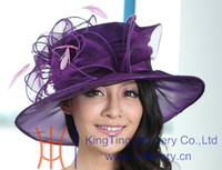 Wholesale New arrival women hat organza wedding dress hat church hat samlll brim feather pink purple colors available