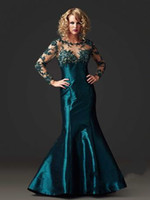 Wholesale 2014 New Floor length Capped Taffeta Red Carpet Dress Mermaid Trumpet Evening Dresses Scoop Dress Embroidery Long Sleeve Gown