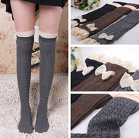 Leg Warmers ladies knee socks - Hot Selling Fashion Ladies Crochet Bowknot Lace Trim Knit Leg Warmer Boot Socks Knee High Hosiery Girls Winter Leggings Cotton Stockings