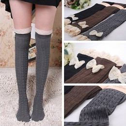 Wholesale Hot Selling Fashion Ladies Crochet Bowknot Lace Trim Knit Leg Warmer Boot Socks Knee High Hosiery Girls Winter Leggings Cotton Stockings