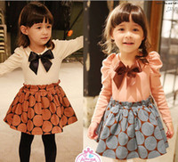Wholesale 2014 Spring Autumn Children Dress new style Girls wave point bowknot Dresses Baby Kids Clothing TS251