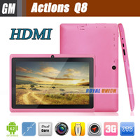 Wholesale 7 inch Actions A23 Q88 Android Tablet PC Dual Core with HDMI Port MB GB A13 Pro for Kids