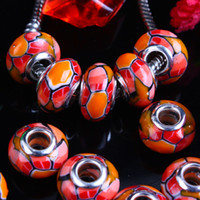 red clay - 100X Red Orange Polymer Clay Cobweb European Big Hole Charm Beads Fit Bracelet