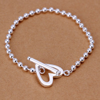 Wholesale Fashion Jewelry Silver MM Solid Beads Chains Bracelet Heart Clasp Bracelet inch