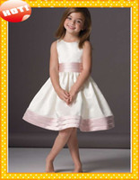 Wholesale 2014 HOT Stain A Line Cute Flower Girls Dresses With Pink Belts Jewel Neckline Pleated Waist Trim Knee Length Little Girl Formal Dress
