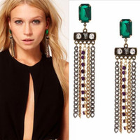 Wholesale Vintage Punk Tassel champagne Diamond Edge Earrings Dangle Chandeller women Girl charms Gift cheap Euramerican Fashion Jewelry